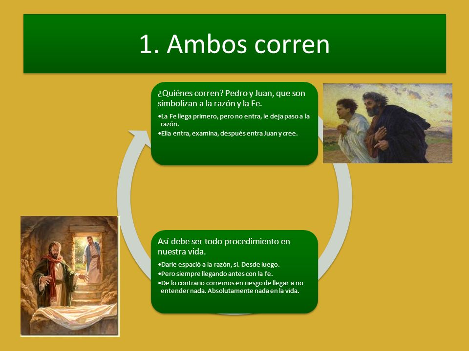 1. Ambos corren ¿Quiénes corren Pedro y Juan, que son simbolizan a la razón y la Fe. La Fe llega primero, pero no entra, le deja paso a la razón.