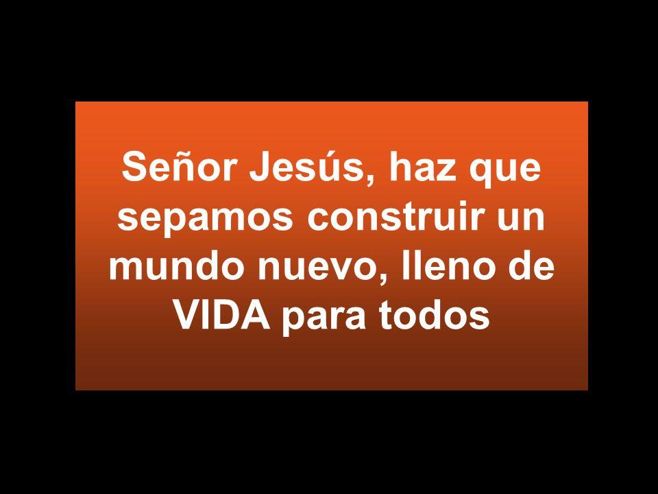 Señor Jesús, haz que sepamos construir un mundo nuevo, lleno de VIDA para todos