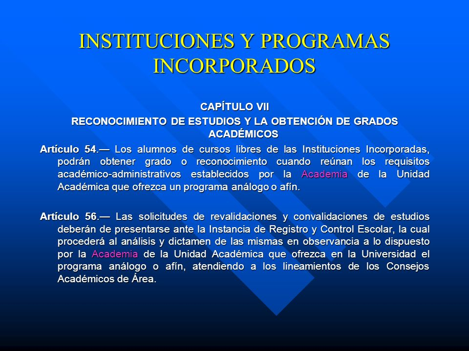 INSTITUCIONES Y PROGRAMAS INCORPORADOS