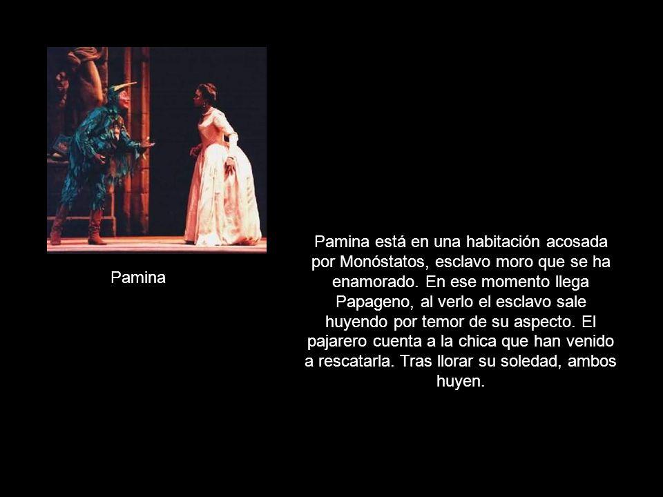 Pamina está en una habitación acosada por Monóstatos, esclavo moro que se ha enamorado. En ese momento llega Papageno, al verlo el esclavo sale huyendo por temor de su aspecto. El pajarero cuenta a la chica que han venido a rescatarla. Tras llorar su soledad, ambos huyen.