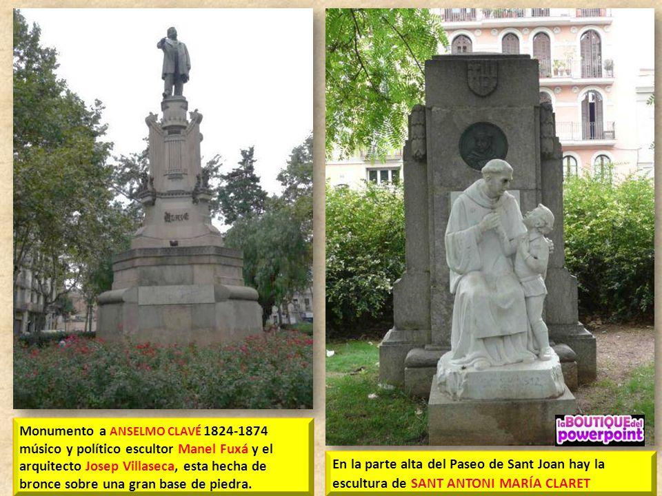 Monumento a ANSELMO CLAVÉ 1824-1874 músico y político escultor Manel Fuxá y el arquitecto Josep Villaseca, esta hecha de bronce sobre una gran base de piedra.