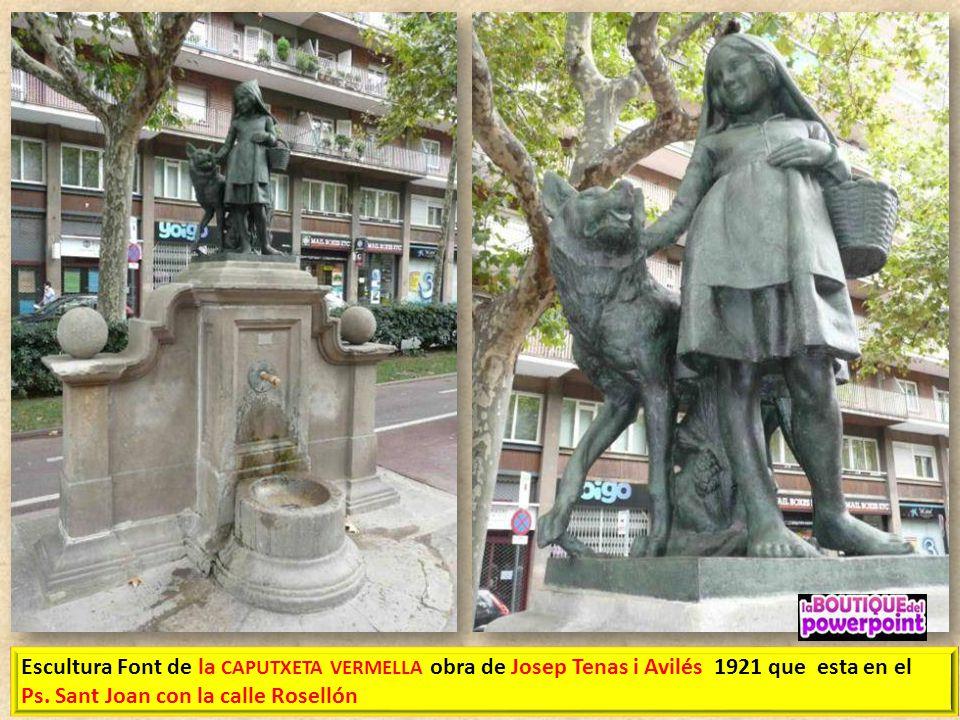 Escultura Font de la CAPUTXETA VERMELLA obra de Josep Tenas i Avilés 1921 que esta en el Ps.