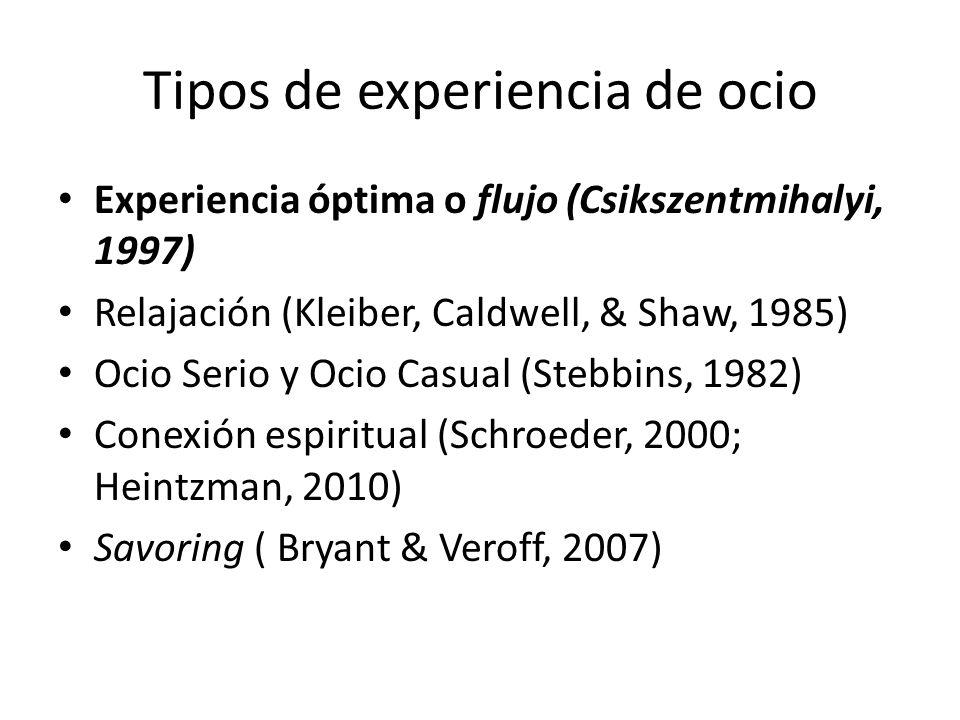 Tipos de experiencia de ocio