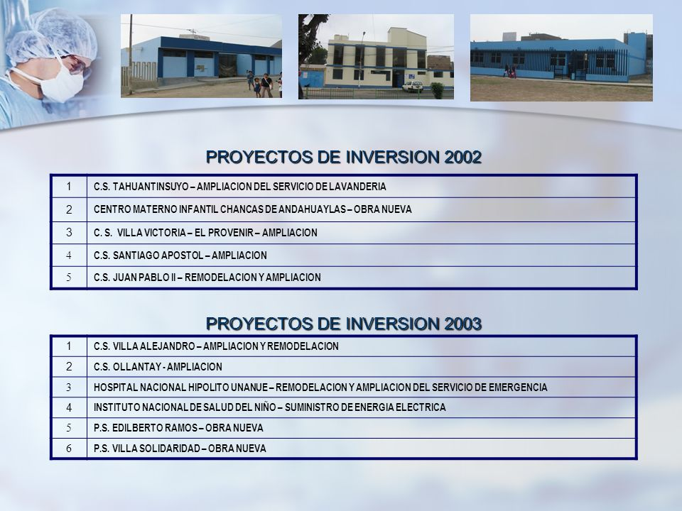 PROYECTOS DE INVERSION 2002