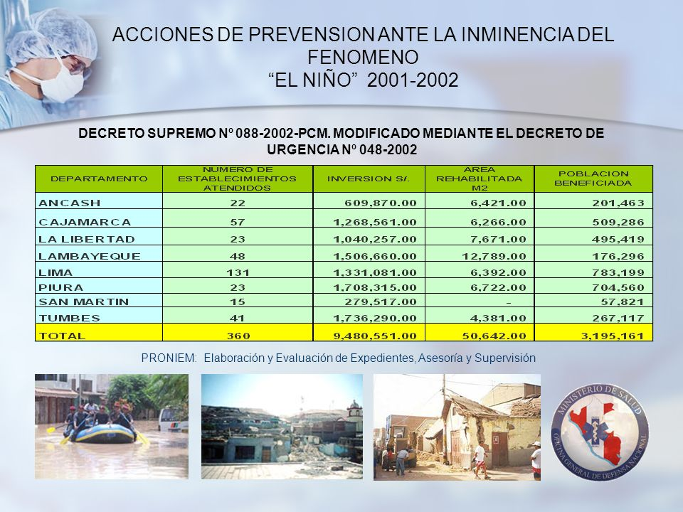 ACCIONES DE PREVENSION ANTE LA INMINENCIA DEL FENOMENO