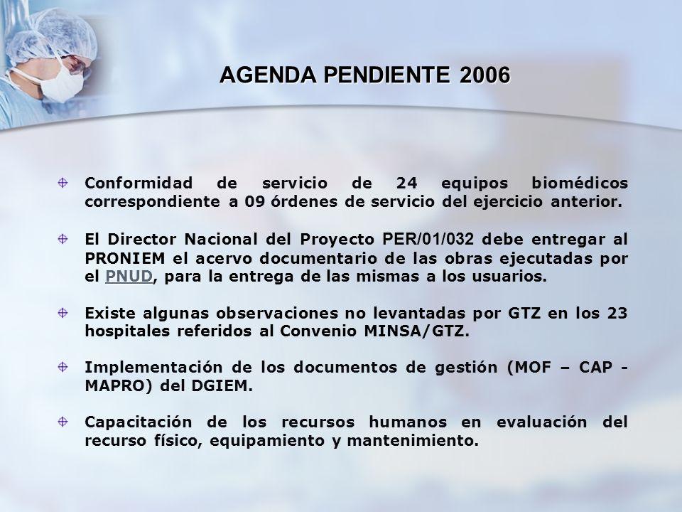 AGENDA PENDIENTE 2006 Conformidad de servicio de 24 equipos biomédicos correspondiente a 09 órdenes de servicio del ejercicio anterior.