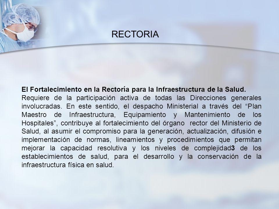 RECTORIA El Fortalecimiento en la Rectoría para la Infraestructura de la Salud.