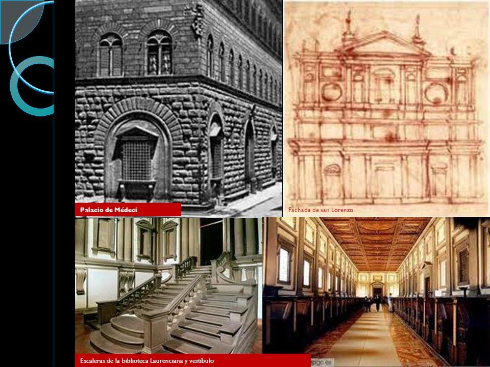 Palacio de Médeci Fachada de san Lorenzo Escaleras de la biblioteca Laurenciana y vestíbulo