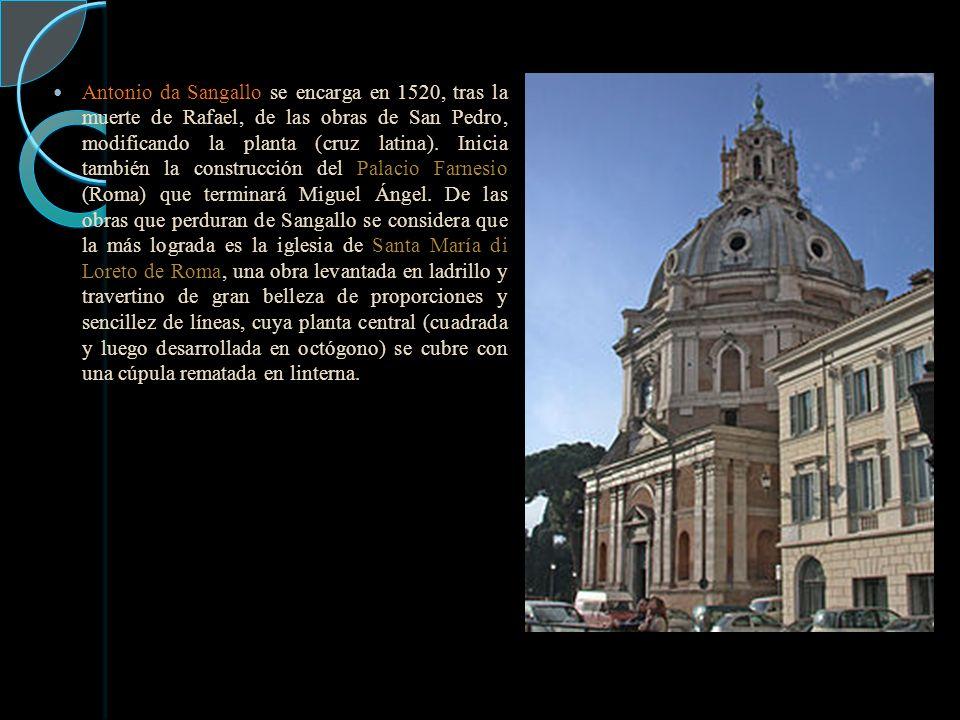 Antonio da Sangallo se encarga en 1520, tras la muerte de Rafael, de las obras de San Pedro, modificando la planta (cruz latina).