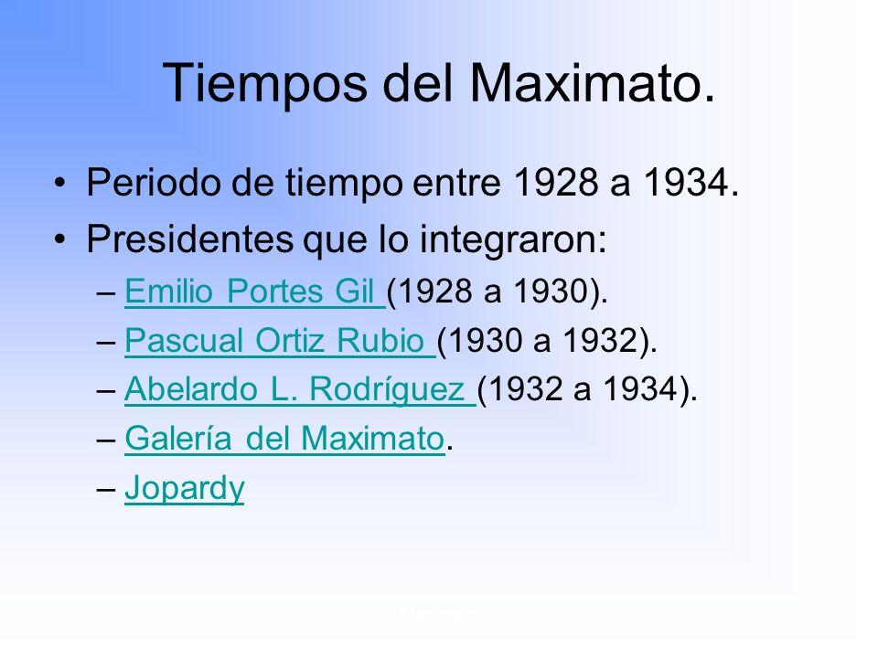 Tiempos del Maximato. Periodo de tiempo entre 1928 a 1934.