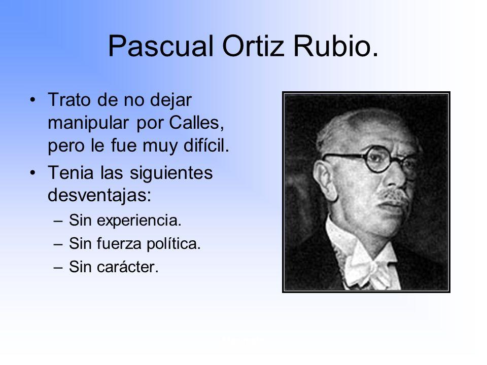Pascual Ortiz Rubio. Trato de no dejar manipular por Calles, pero le fue muy difícil. Tenia las siguientes desventajas: