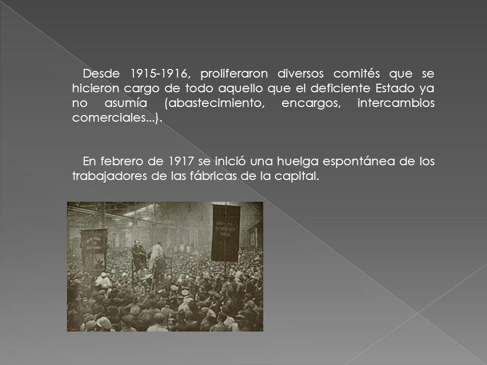 Desde 1915-1916, proliferaron diversos comités que se hicieron cargo de todo aquello que el deficiente Estado ya no asumía (abastecimiento, encargos, intercambios comerciales...).
