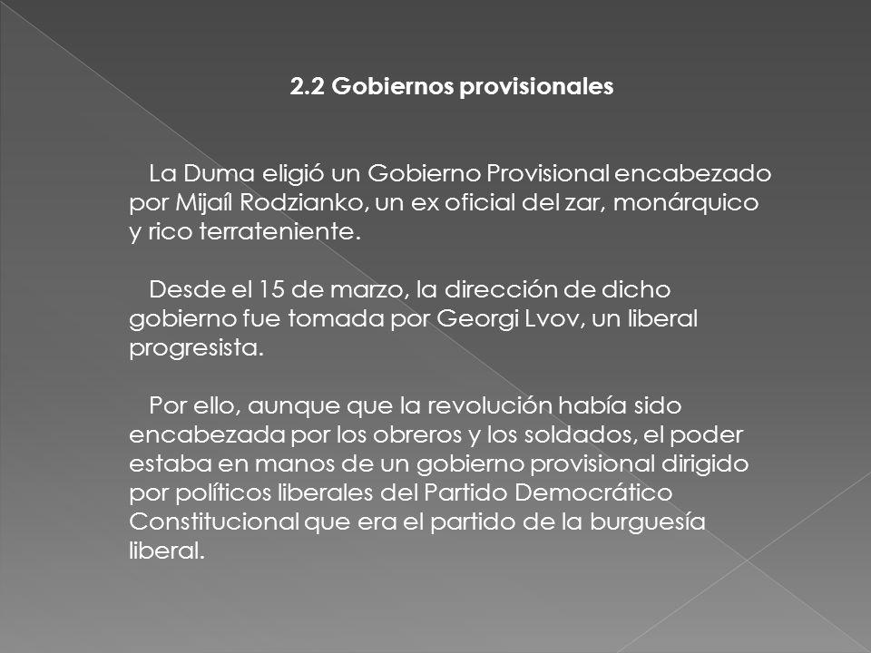 2.2 Gobiernos provisionales