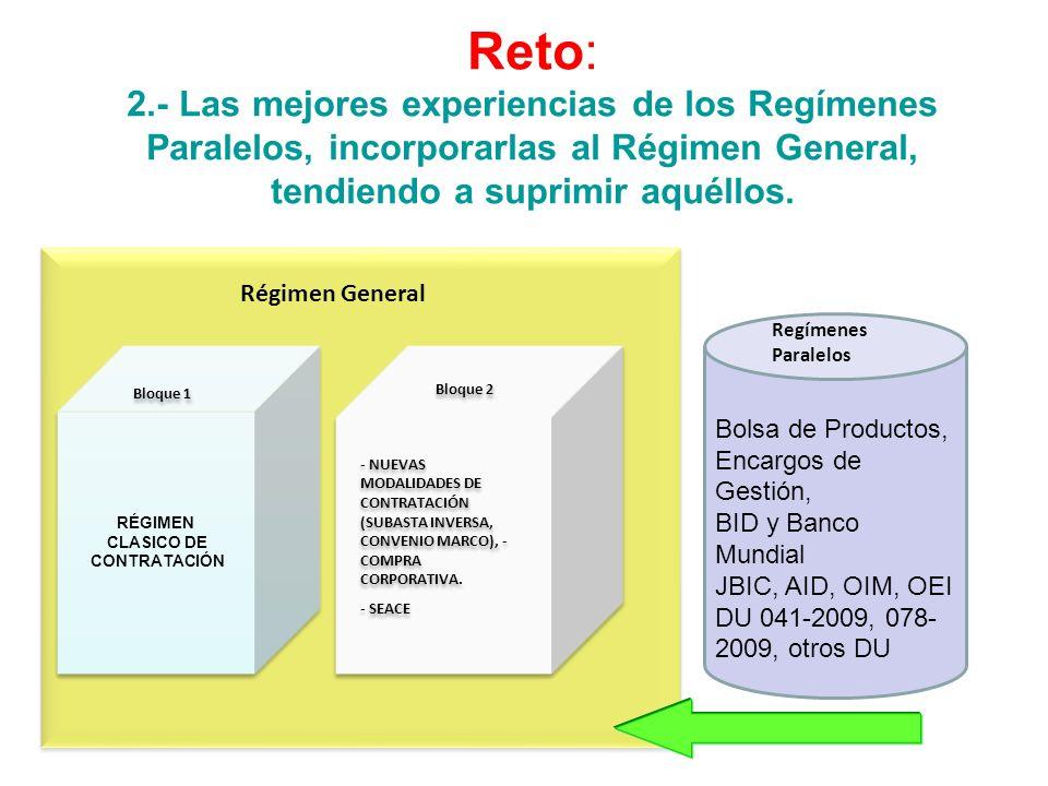 Reto: 2.- Las mejores experiencias de los Regímenes Paralelos, incorporarlas al Régimen General, tendiendo a suprimir aquéllos.