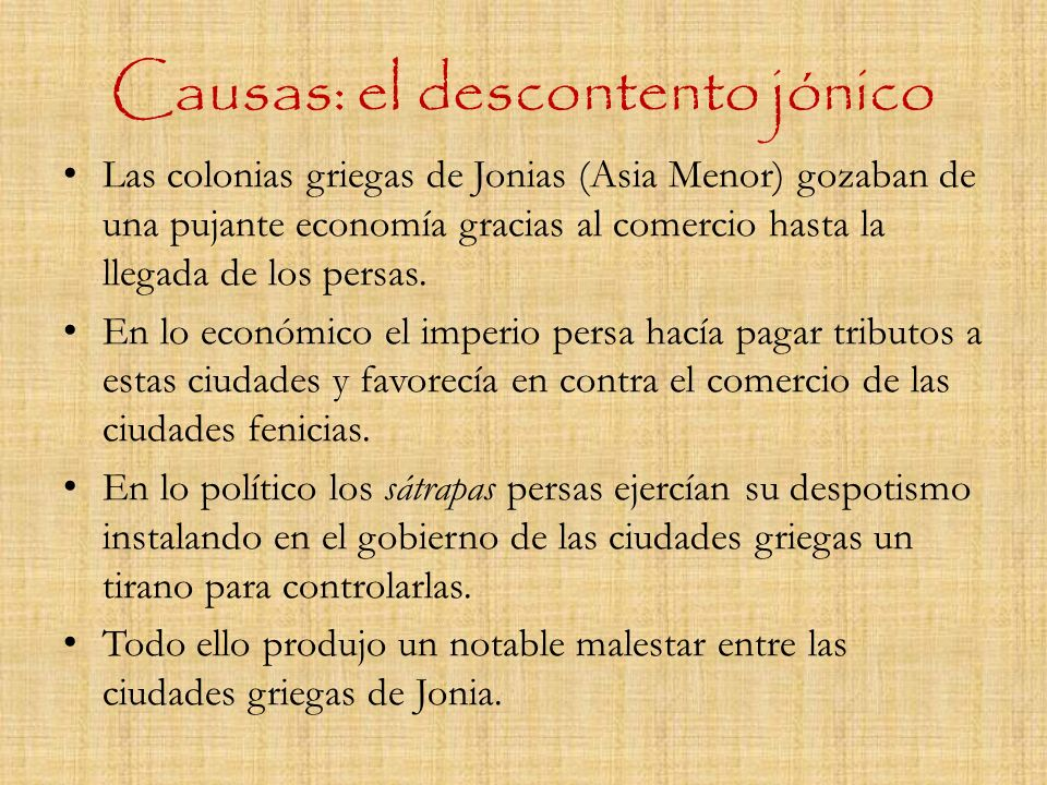 Causas: el descontento jónico