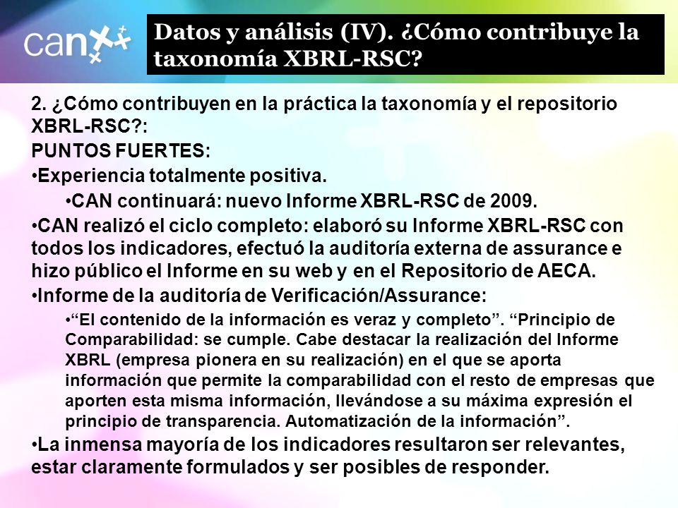 Datos y análisis (IV). ¿Cómo contribuye la taxonomía XBRL-RSC
