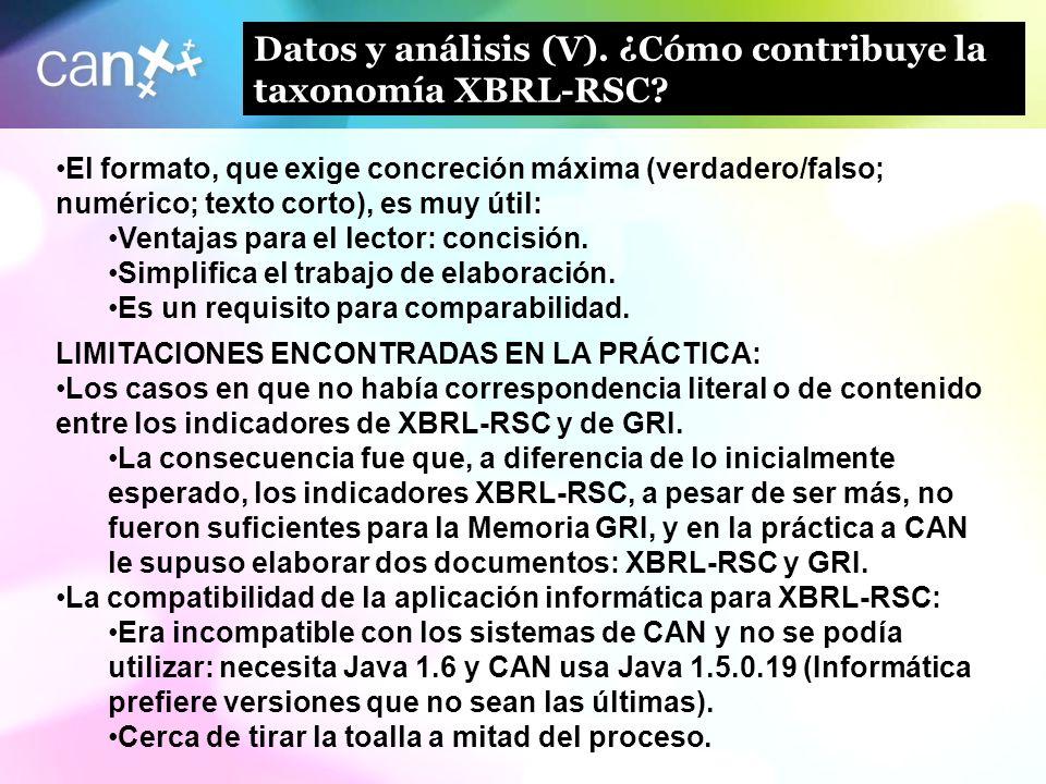 Datos y análisis (V). ¿Cómo contribuye la taxonomía XBRL-RSC