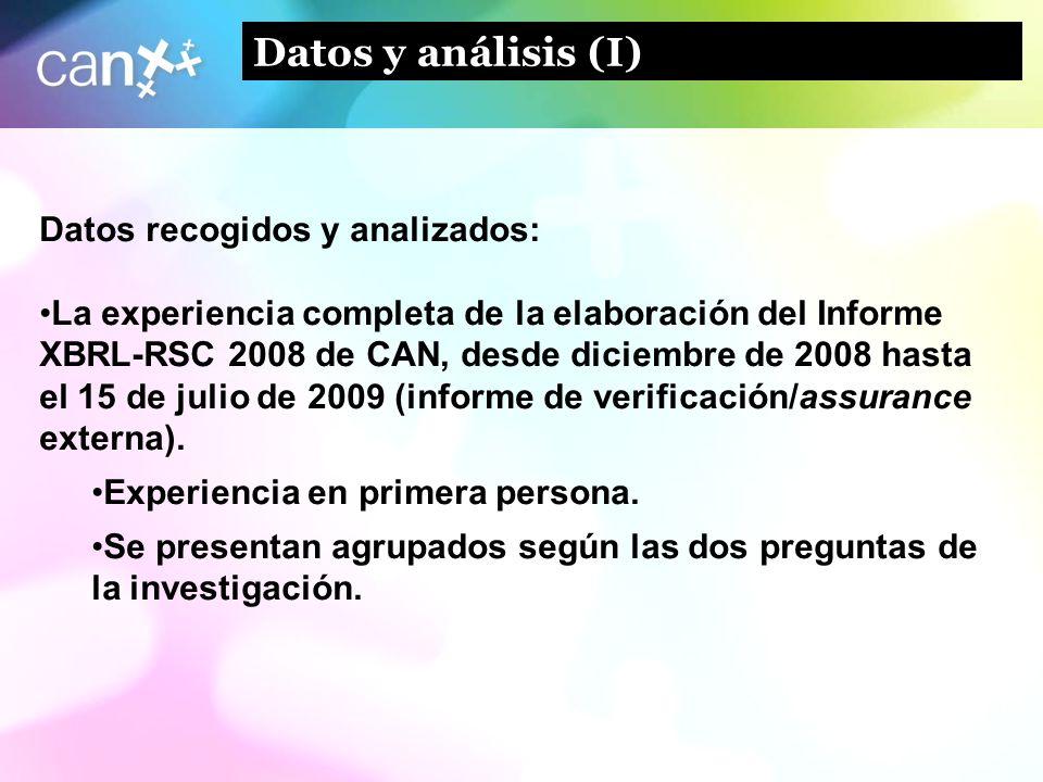 Datos y análisis (I) Datos recogidos y analizados: