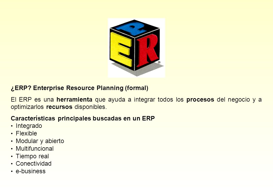 ¿ERP Enterprise Resource Planning (formal)