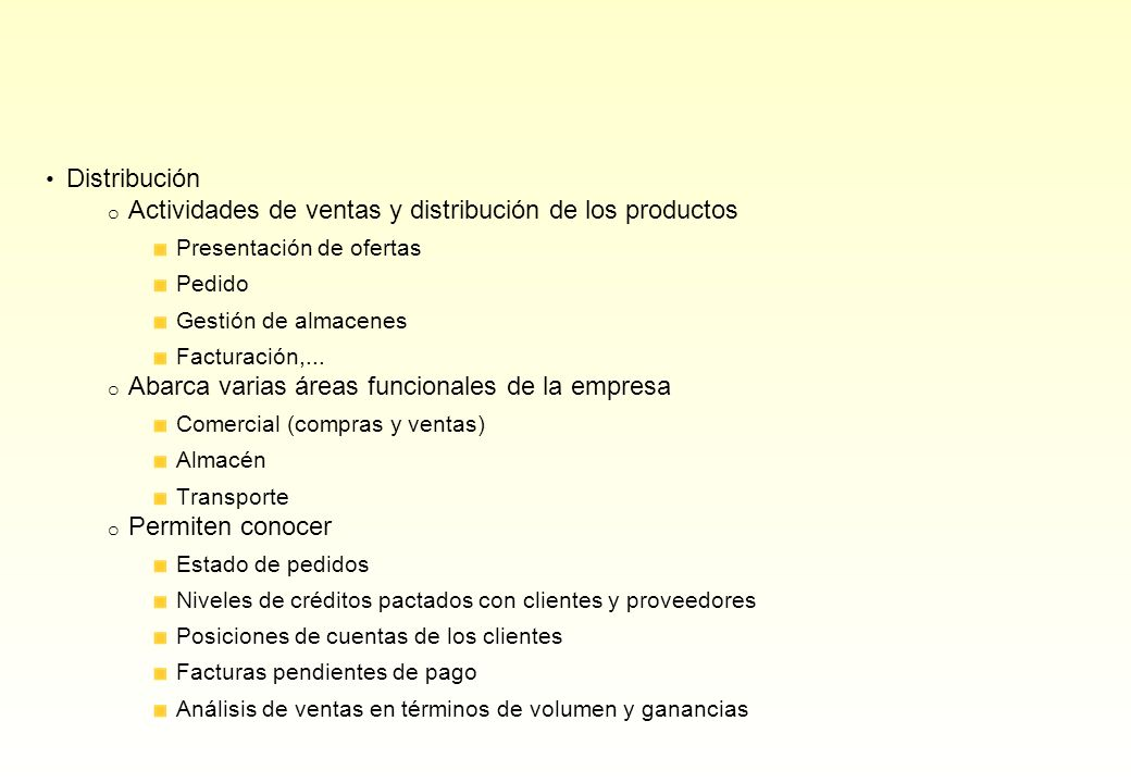 Actividades de ventas y distribución de los productos