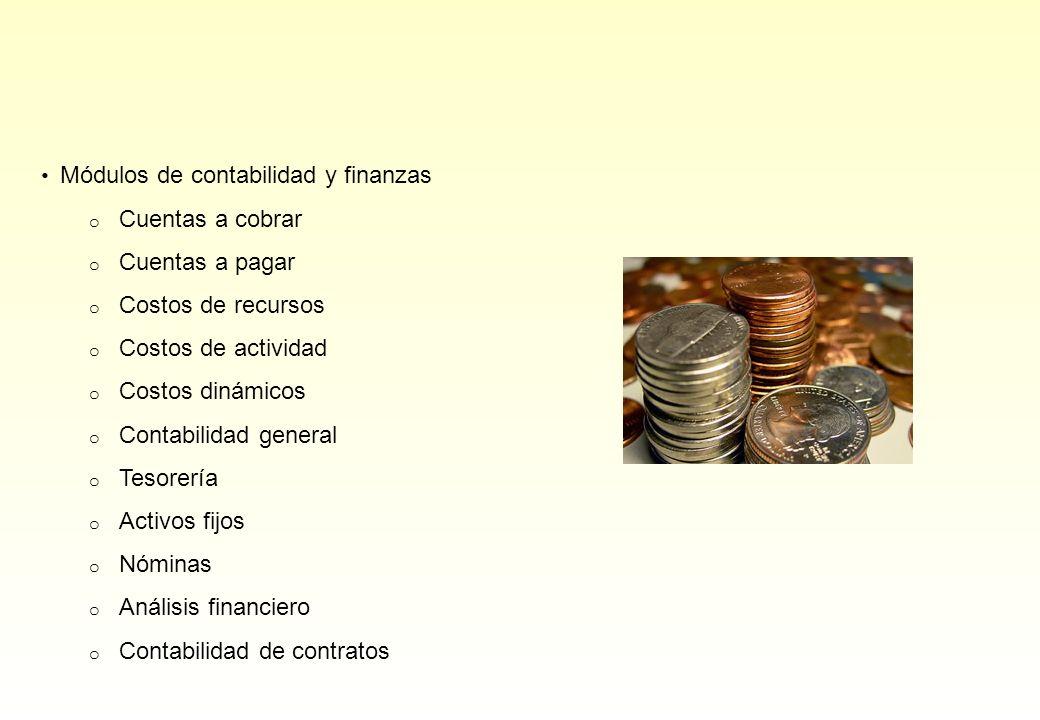 Módulos de contabilidad y finanzas