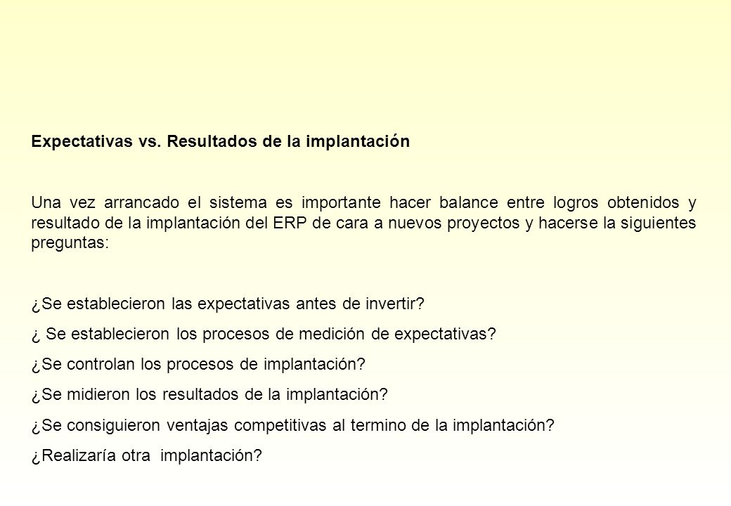 Expectativas vs.