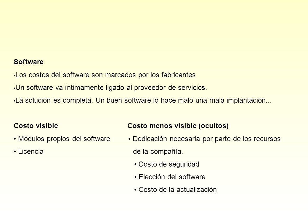 Software Los costos del software son marcados por los fabricantes. Un software va íntimamente ligado al proveedor de servicios.