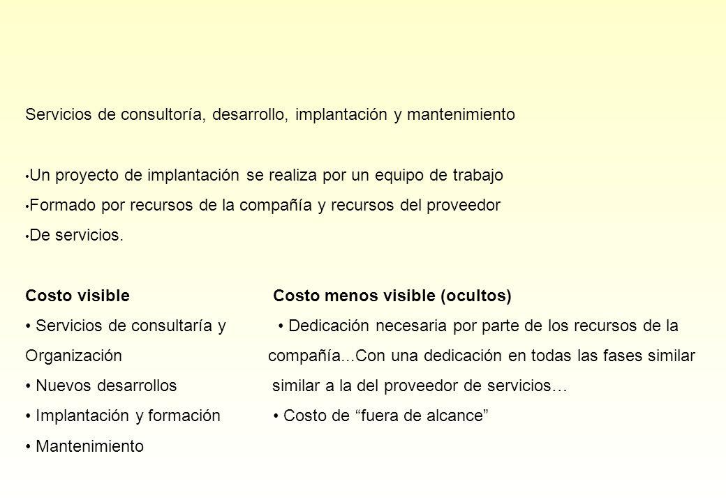 Servicios de consultoría, desarrollo, implantación y mantenimiento