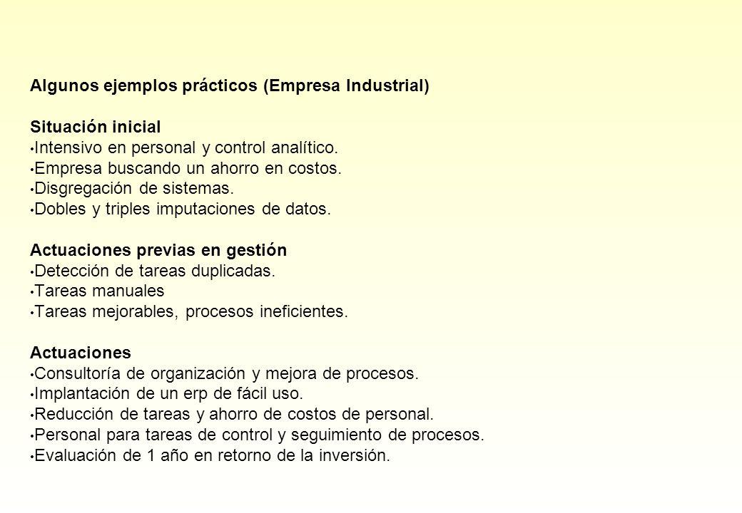 Algunos ejemplos prácticos (Empresa Industrial)