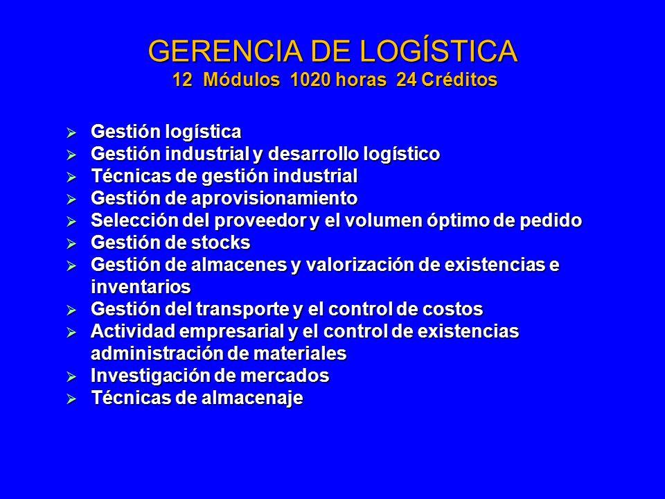 GERENCIA DE LOGÍSTICA 12 Módulos 1020 horas 24 Créditos