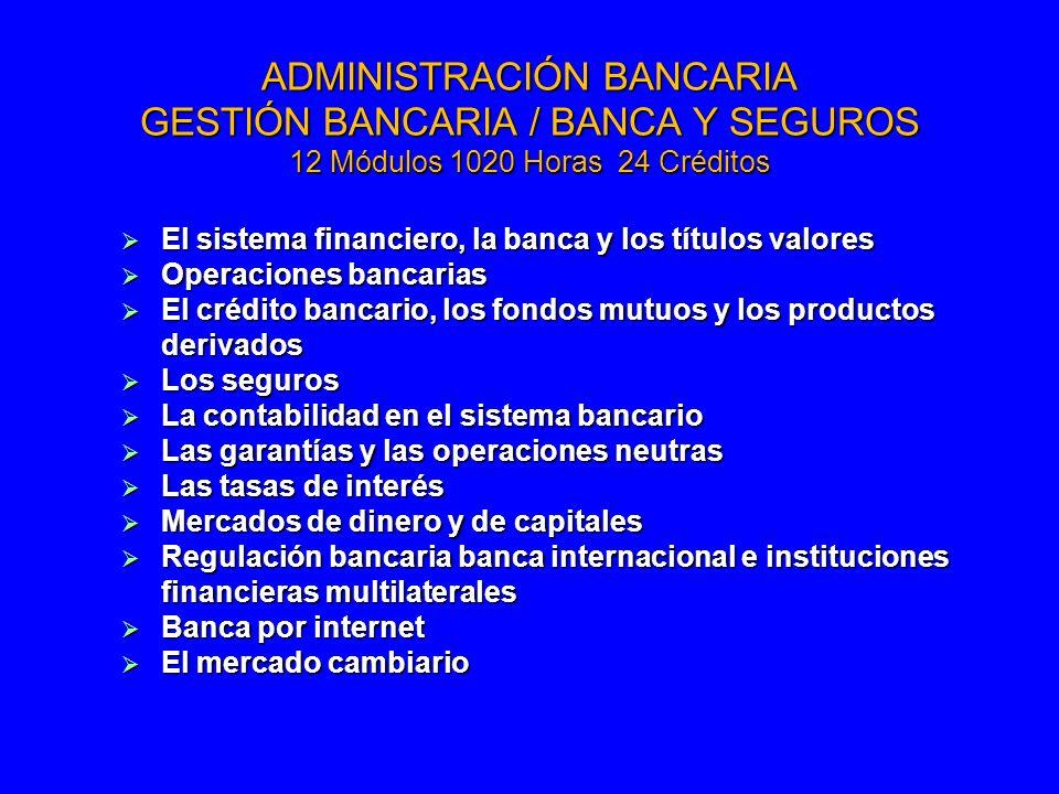 ADMINISTRACIÓN BANCARIA GESTIÓN BANCARIA / BANCA Y SEGUROS 12 Módulos 1020 Horas 24 Créditos