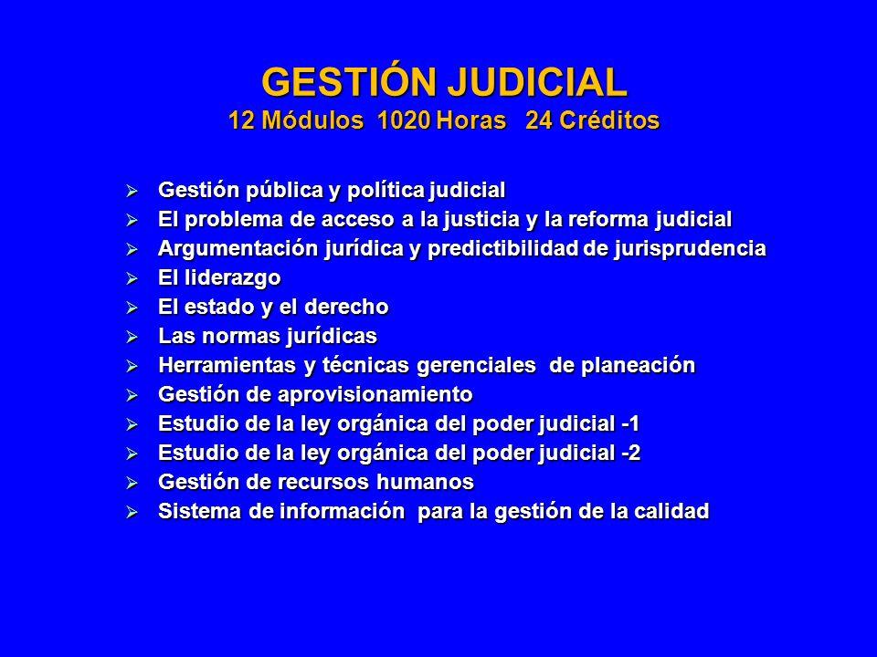 GESTIÓN JUDICIAL 12 Módulos 1020 Horas 24 Créditos