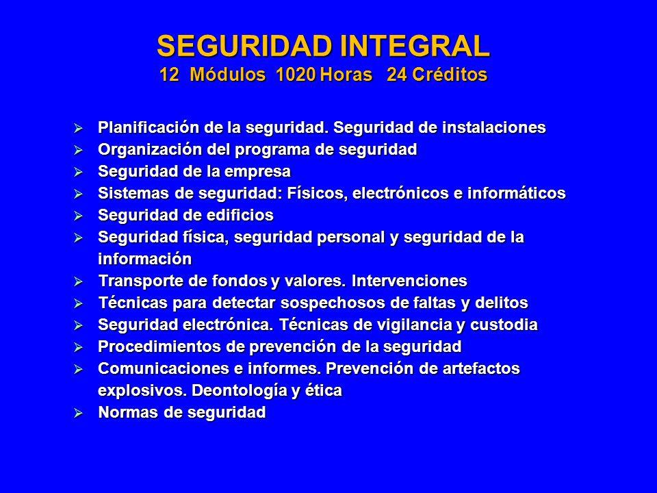 SEGURIDAD INTEGRAL 12 Módulos 1020 Horas 24 Créditos