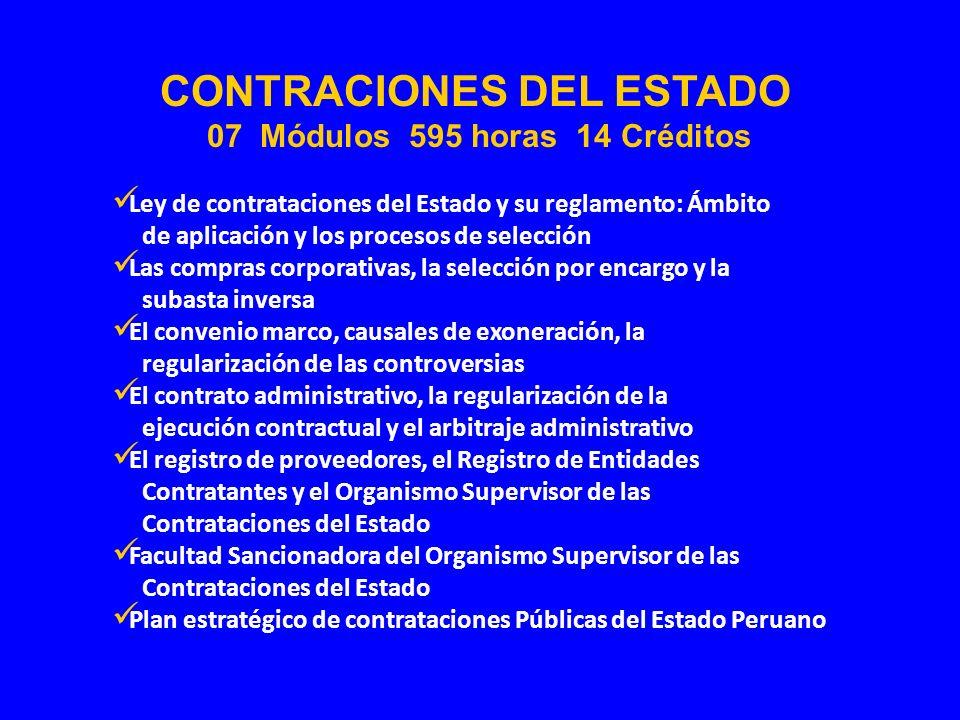 CONTRACIONES DEL ESTADO 07 Módulos 595 horas 14 Créditos