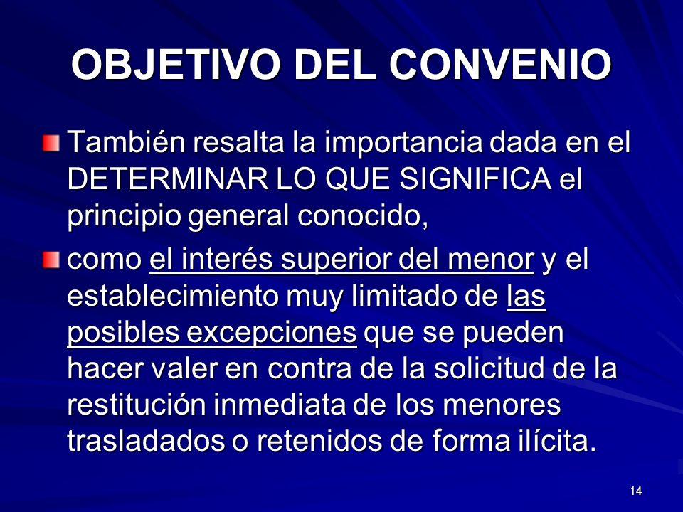 OBJETIVO DEL CONVENIO También resalta la importancia dada en el DETERMINAR LO QUE SIGNIFICA el principio general conocido,