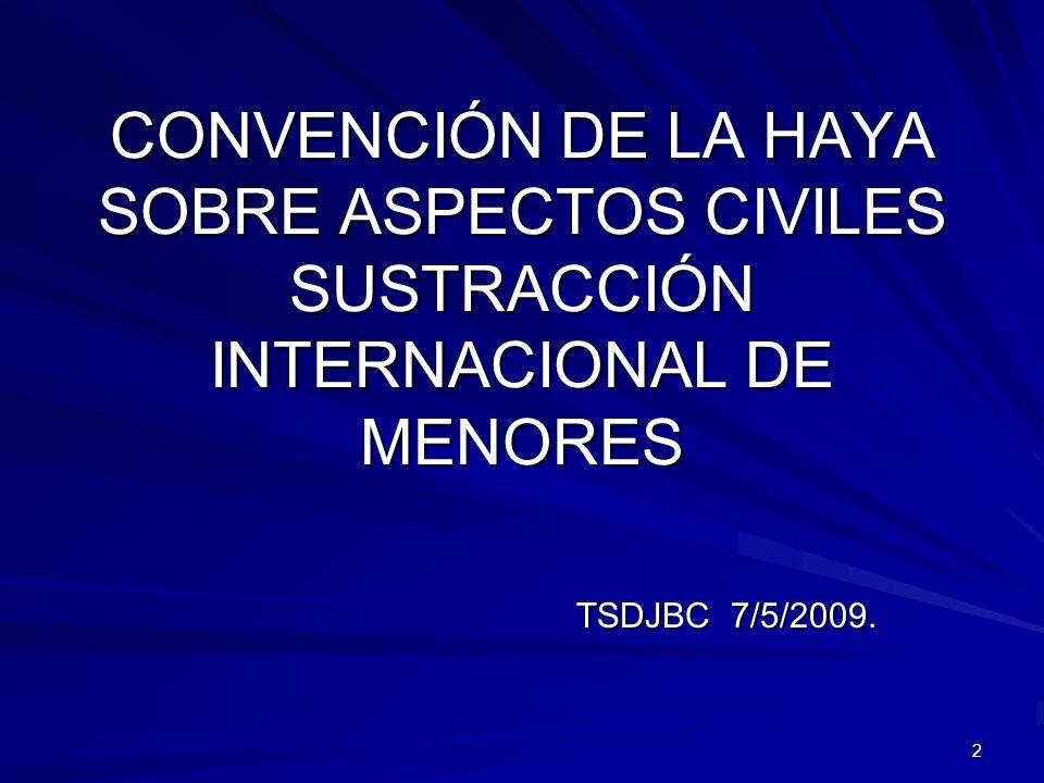 CONVENCIÓN DE LA HAYA SOBRE ASPECTOS CIVILES SUSTRACCIÓN INTERNACIONAL DE MENORES