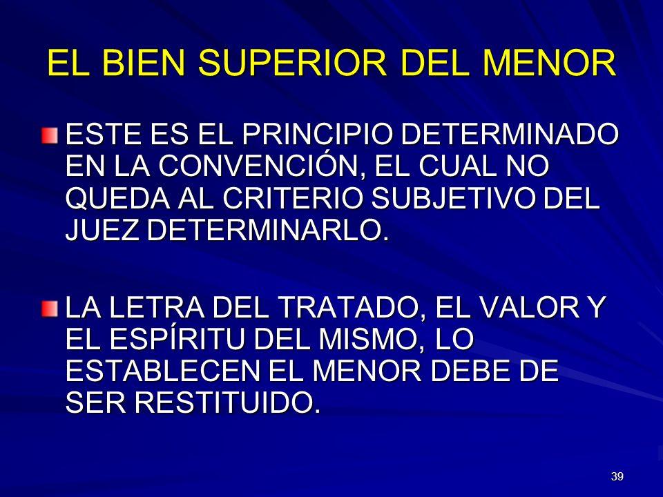 EL BIEN SUPERIOR DEL MENOR