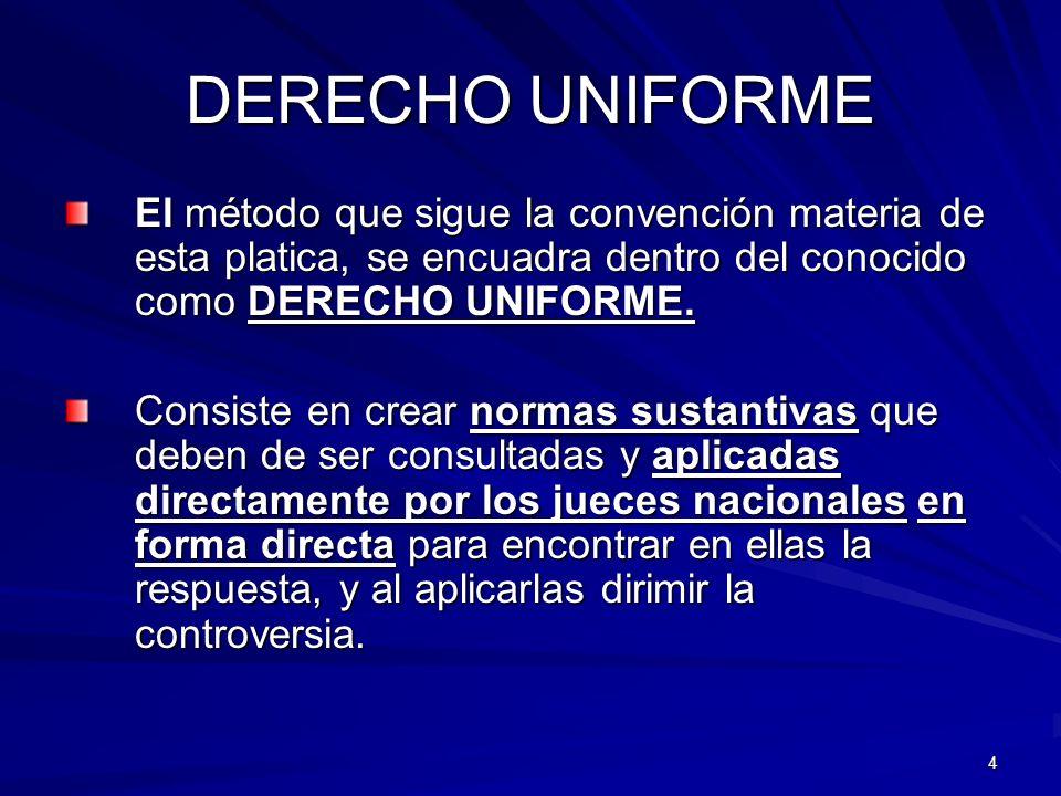 DERECHO UNIFORME El método que sigue la convención materia de esta platica, se encuadra dentro del conocido como DERECHO UNIFORME.
