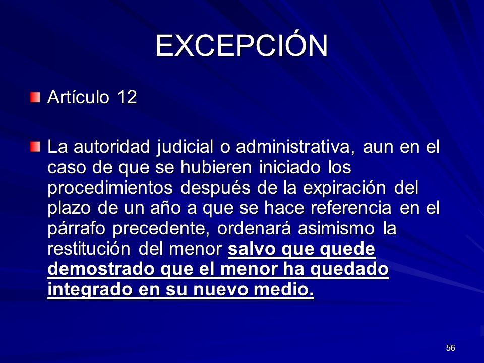 EXCEPCIÓN Artículo 12.