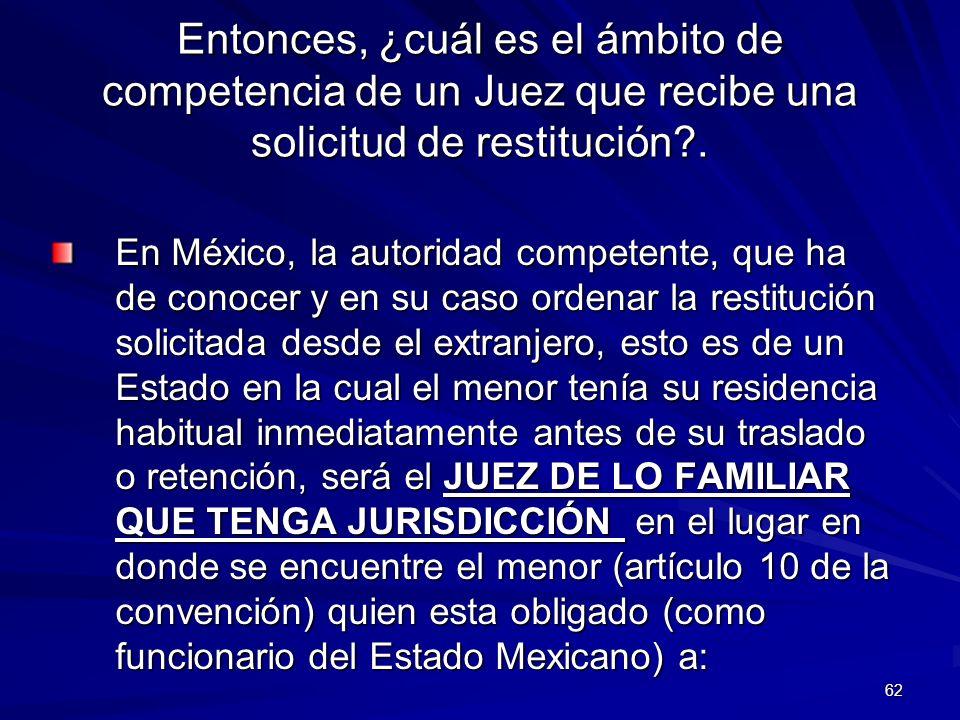 Entonces, ¿cuál es el ámbito de competencia de un Juez que recibe una solicitud de restitución .