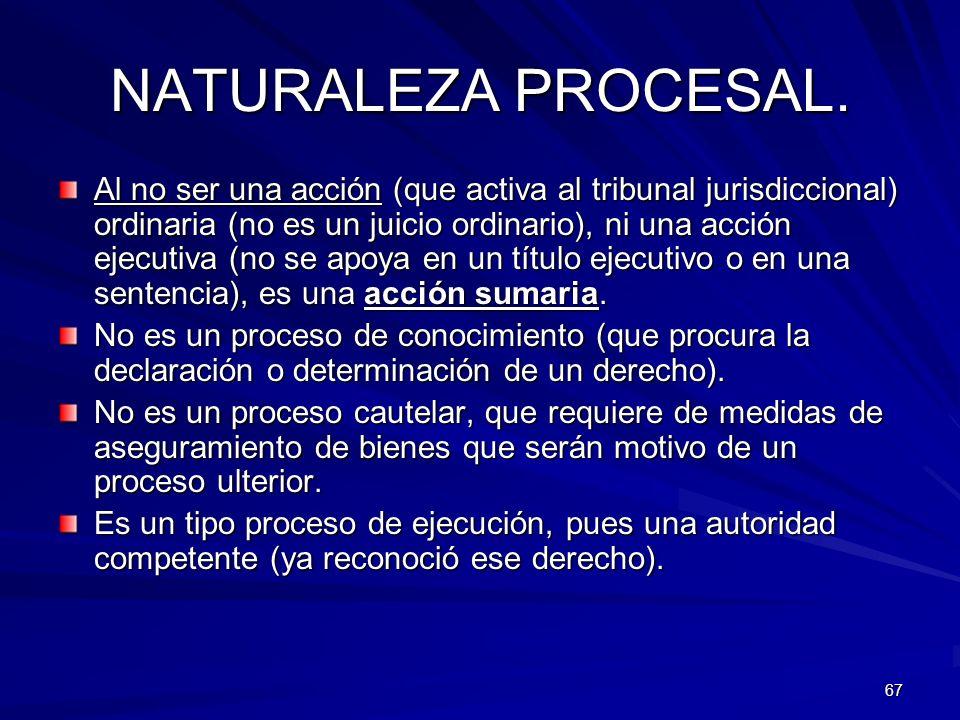 NATURALEZA PROCESAL.