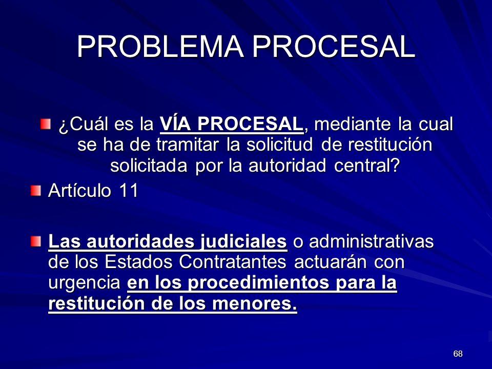 PROBLEMA PROCESAL ¿Cuál es la VÍA PROCESAL, mediante la cual se ha de tramitar la solicitud de restitución solicitada por la autoridad central