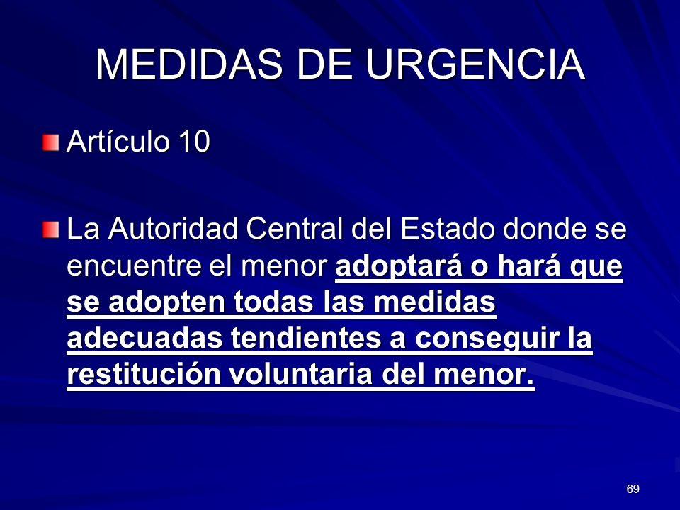 MEDIDAS DE URGENCIA Artículo 10