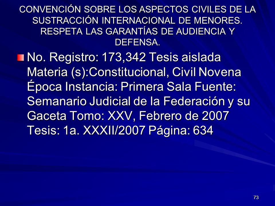 CONVENCIÓN SOBRE LOS ASPECTOS CIVILES DE LA SUSTRACCIÓN INTERNACIONAL DE MENORES. RESPETA LAS GARANTÍAS DE AUDIENCIA Y DEFENSA.