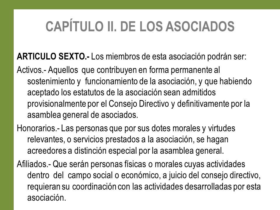 CAPÍTULO II. DE LOS ASOCIADOS