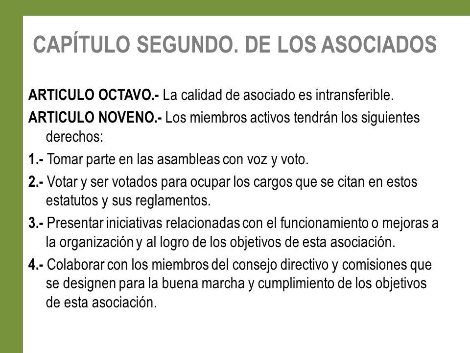 CAPÍTULO SEGUNDO. DE LOS ASOCIADOS