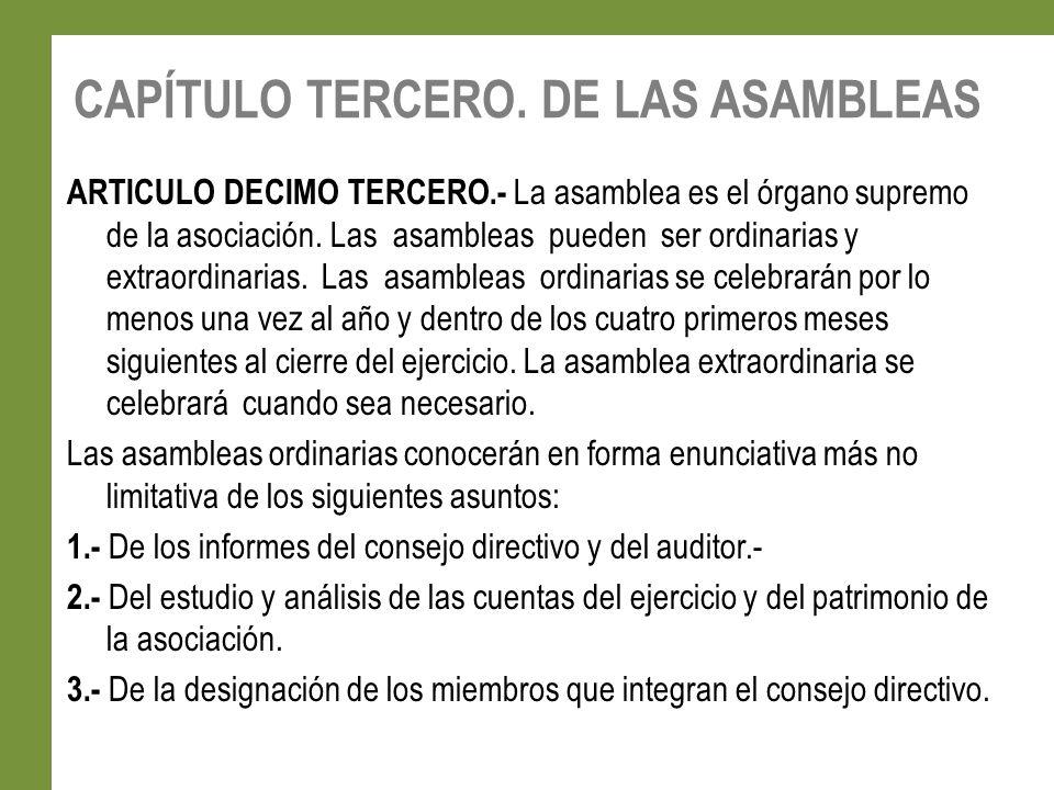 CAPÍTULO TERCERO. DE LAS ASAMBLEAS