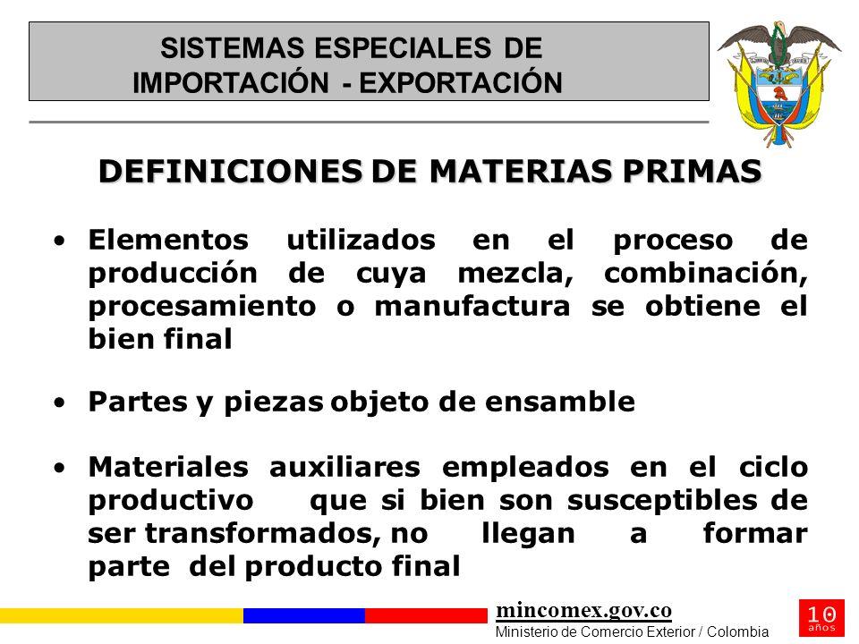 DEFINICIONES DE MATERIAS PRIMAS