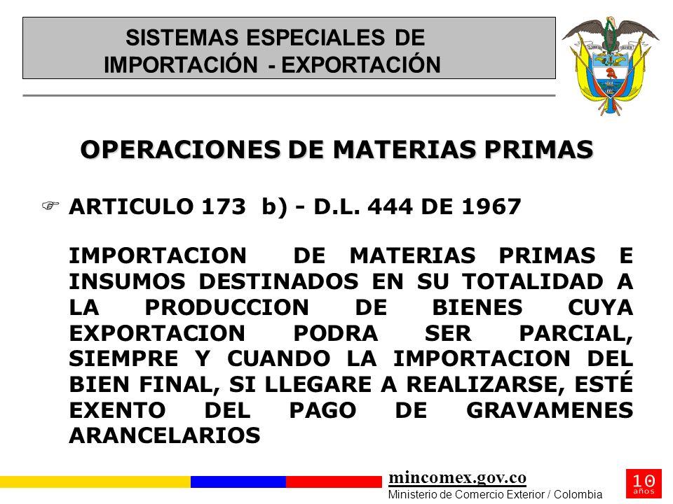 OPERACIONES DE MATERIAS PRIMAS