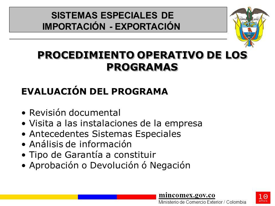 PROCEDIMIENTO OPERATIVO DE LOS PROGRAMAS